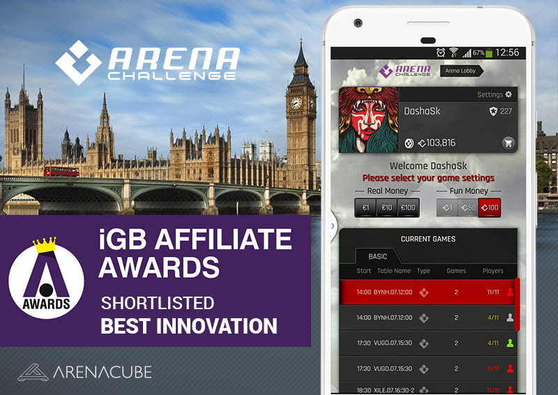 ArenaCube shortlisted for its innovation at iGB Affiliate Awards